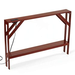 Collections Etc Beautiful Sofa Table with Built-in USB Charging Station to Instantly Add Style a ...