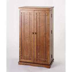 Bowery Hill 40″ CD DVD Media Storage Cabinet in Dark Oak