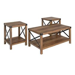 Walker Edison Furniture Company 3-Piece Rustic Wood and Metal Coffee Table Set – Rustic Oak