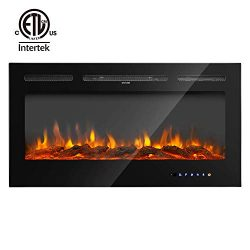RUUF Electric Fireplace, 40″ in-Wall Recessed and Wall Mounted Fireplace Heater, 5 Flame S ...