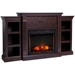 HOMCOM Electric Freestanding Fireplace 1400W Artificial Flame Effect with Detachable Side Cabine ...