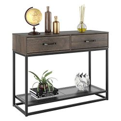 HOMECHO Console Table, Sofa Table, Industrial Entryway Table with 2 Drawers and Storage Shelf, f ...
