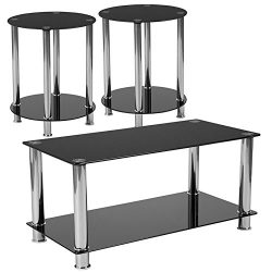 Flash Furniture Riverside 3 Piece Glass Top Coffee Table Set in Black