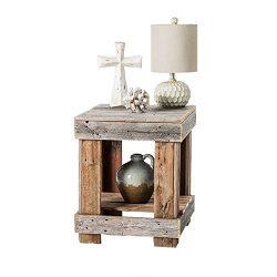 Del Hutson Designs – Rustic Barnwood End Table, USA Handmade Reclaimed Wood (Natural)