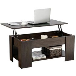 Yaheetech Modern Lift Top Coffee Table with Hidden Compartment and Storage Shelf – Lift Ta ...