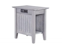 Atlantic Furniture Nantucket Chair Side Table with Charging Station, Driftwood