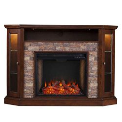 Southern Enterprises Redden Corner Convertible Alexa-Enabled Smart Fireplace with Storage, Espresso
