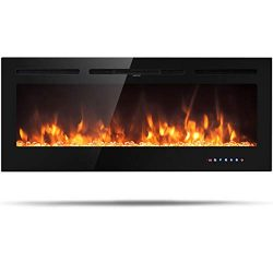 Tangkula 50″ Electric Fireplace, in-Wall Recessed and Wall Mounted 750W/1500W, Fireplace H ...