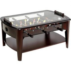 Foosball Coffee Game Wood 42″ Table Tempered Glass Top Tabletop Furniture Family Dark Brown