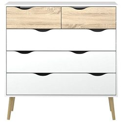 Pemberly Row Modern Scandinavian Design 5 Drawer Chest in White Oak with Solid Oak Wood Legs