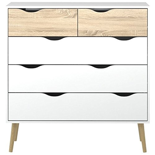 Pemberly Row Modern Scandinavian Design 5 Drawer Chest in White Oak with Solid Oak Wood Legs