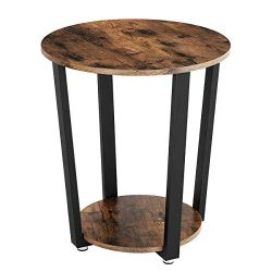 KingSo End Table, 2-Tier Round Industrial Nightstand with Storage Shelf, Easy Assembly & Stu ...
