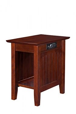 Atlantic Furniture Nantucket Chair Side Table with Charging Station, Walnut