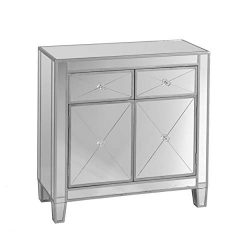 Mirage Mirrored Cabinet – Sliding Drawers w/ Faux Crystal Knobs – Glam Style