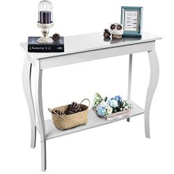 ChooChoo White Console Table Narrow, Hall Sofa Table for Entryway Hallway, Vintage Entryway Tabl ...