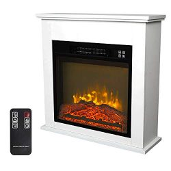 "Zokop 25""W Freestanding Electric Fireplace Stove Space Heater with Realistic Flame, Wood M ..."