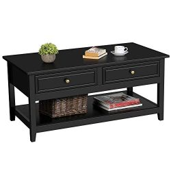 Topeakmart Modern Coffee Table with 2 Drawers and 1 Storage Shelf, Center Tables for Living Room ...