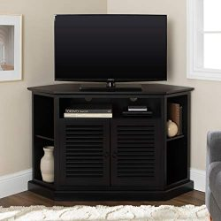 WE Furniture Simple Farmhouse Wood Stand with Storage Cabinets for TV's up to 56″ Li ...
