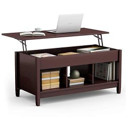TANGKULA Coffee Table Lift Top Wood Home Living Room Modern Lift Top Storage Coffee Table w/Hidd ...