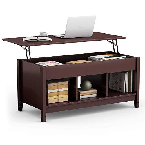 TANGKULA Coffee Table Lift Top Wood Home Living Room Modern Lift Top Storage Coffee Table w/Hidd ...