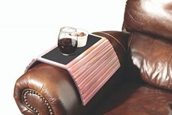 Etna Solid Wood Sofa/Couch Arm Tray Table w/Non-Slip Felt Surface & Slat Links-Flexible Fold ...