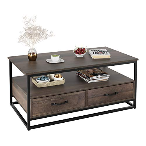 HOMECHO Industrial Coffee Table 43″, Wood and Metal Cocktail Table with Storage Shelf and  ...