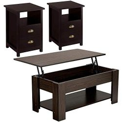Yaheetech 3-Piece Table Set – Include Lift Top Coffee Table and 2 End Tables with Storage  ...