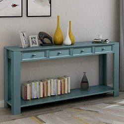 Console Table for Entryway Hallway 64″ Sideboard with Storage Drawers and Bottom Shelf (Da ...