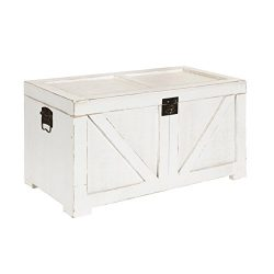 Kate and Laurel Cates Farmhouse Decorative Wood Trunk 14×27.5×14 White