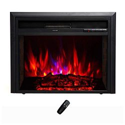 FLAME&SHADE Electric Fireplace Insert – Recessed or Freestanding – Width 28in