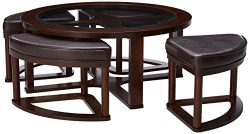 Signature Design by Ashley – Marion Coffee Table Set w/ 4 Upholstered Stools, Dark Brown w ...