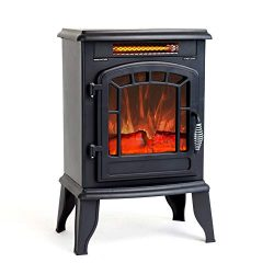 FLAME&SHADE Electric Wood Stove Fireplace Heater – Freestanding – Height 23in