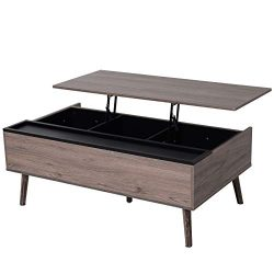 HOMCOM Lift-top Coffee Table with Storage Compartment, Metal and Grey Wood