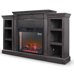 DELLA 1400-Watt Electric Fireplace in Grey with Built-in Bookshelves and an Enhanced Log Display