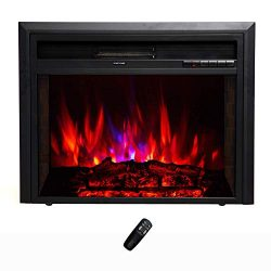 FLAME&SHADE Electric Fireplace Insert – Recessed or Freestanding – Width 32in