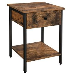 VASAGLE VINCYER Nightstand, End Table, Side Table with Drawer and Shelf, Bedroom, Living Room, E ...