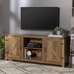 WE Furniture TV Stand, 58 Inch, Reclaimed Barnwood