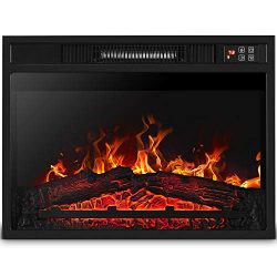 Della BELLEZE 1400w Embedded 23 Inch Fireplace Electric Insert Heater Glass View Adjustable Log  ...