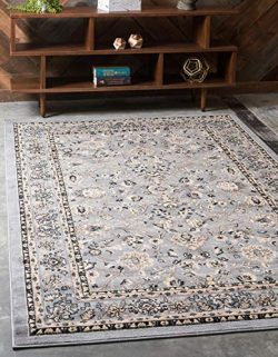 Unique Loom Kashan Collection Traditional Floral Overall Pattern with Border Gray Area Rug (6 ...