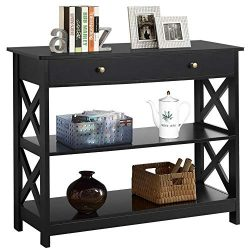 Yaheetech 3-Tier Sofa Side Console Table with 1 Drawer and 2 Storage Shelves Narrow Accent Table ...
