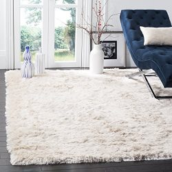 Safavieh Paris Shag Collection SG511-1212 Ivory Polyester Area Rug (5′ x 8′)
