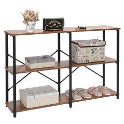 IWELL Industrial 3-Tier Console Table Sofa Table with Storage Shelfs, Entryway Hallway Table wit ...