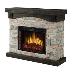 Muskoka 42″ Sable Mills Grey Faux Stone Mantel Electric Fireplace