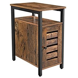 VASAGLE LOWELL Side Table, Multipurpose Storage Cabinet with Open Shelf, Inner Adjustable Shelf, ...