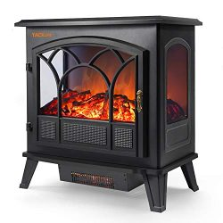 TACKLIFE Electric Fireplace Heater Adjustable Flame Portable Indoor Freestanding Fireplace Stove ...