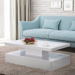 Mecor Modern Glossy White Coffee Table W/LED Lighting, Contemporary Rectangle Design Living Room ...