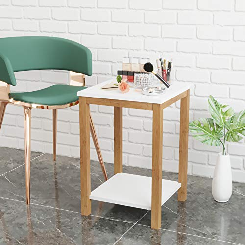 BAMEOS Side Table Modern Industrial End Table, 2-Tier Side Table with Storage Shelf, Accent Coff ...