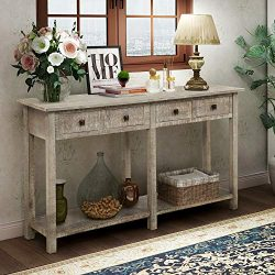 Retro Console Table Sofa Table for Entryway with Drawers and Shelf Living Room Sideboard (Grey Wash)