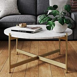 Nathan James Piper Faux Marble Round Modern Living Room Coffee Table with Brass Metal Frame, Gold