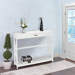 Bonnlo White Entryway Table Sofa Table with Drawer and Shelf Slim Console Table with Storage for ...